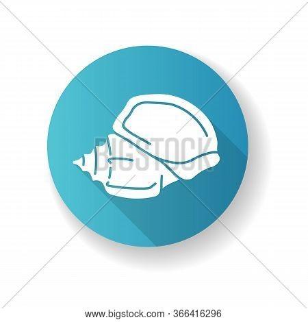 Triton Trumpet Shell Blue Flat Design Long Shadow Glyph Icon. Large Exotic Seashell, Conchology Char