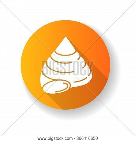 Top Shell Yellow Flat Design Long Shadow Glyph Icon. Exotic Snail Cockleshell, Conchology Cittarium