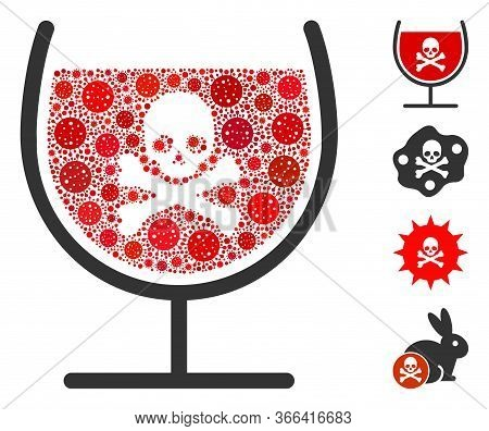 Collage Poison Drink Glass Designed From Covid-2019 Virus Icons In Various Sizes And Color Hues. Vec