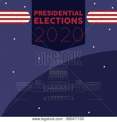 United States Elections Poster. White House Outline - Vector