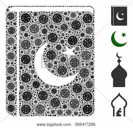 Collage Quran Book Composed Of Flu Virus Icons In Variable Sizes And Color Hues. Vector Pathogen Ite