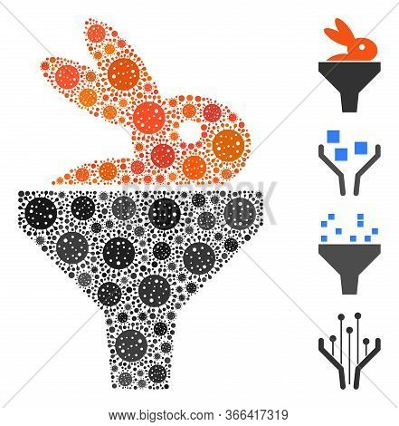 Collage Rabbit Puree Funnel Organized From Covid-2019 Virus Elements In Various Sizes And Color Hues