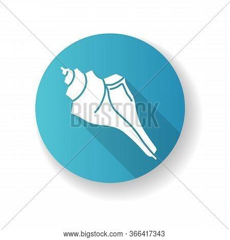 Triton Shell Blue Flat Design Long Shadow Glyph Icon. Exotic Ocean Conch, Conchology Triton Trumpet,