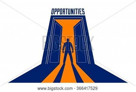 Man Standing In Half Open Big Door Hesitating To Step In Vector Concept Of New Opportunities, Step I