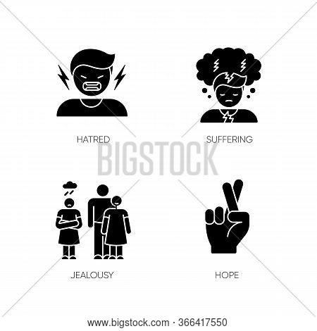 Psychological Problem Black Glyph Icons Set On White Space. Man Scream From Hatred. Suffering From M