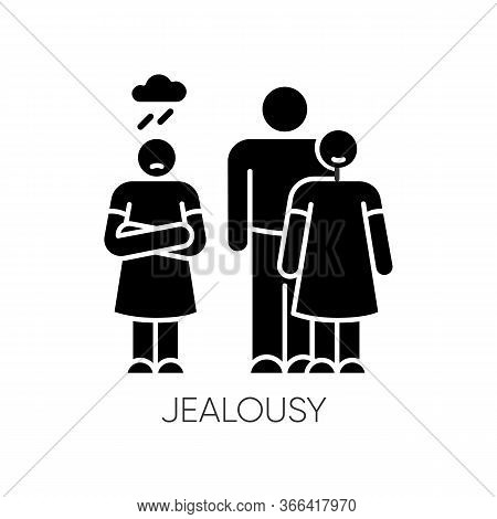 Jealousy Black Glyph Icon. Betrayal In Romantic Relationship. Conflict Between Man And Woman. Rivalr