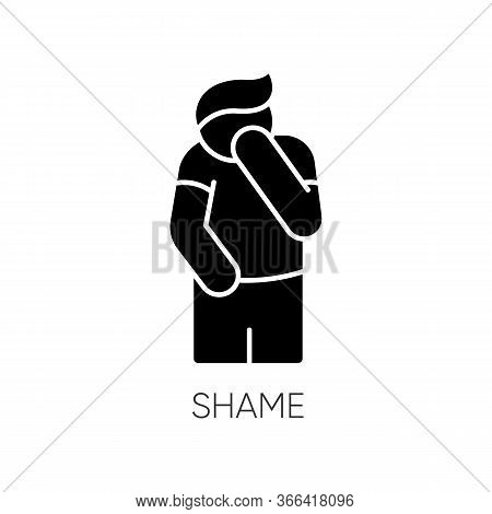 Shame Black Glyph Icon. Human Feeling Embarrassed. Social Emotion Of Guilt. Moral Toxic Feeling. Men