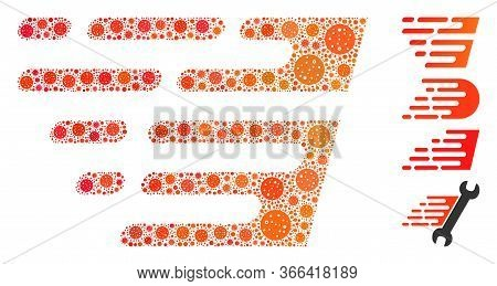 Mosaic Rush Effect United From Flu Virus Icons In Variable Sizes And Color Hues. Vector Infection Pa
