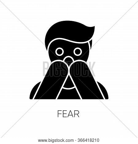 Fear Black Glyph Icon. Human Phobia. Panic Attack. Anxiety Disorder. Afraid Of Threat. Stress And Me