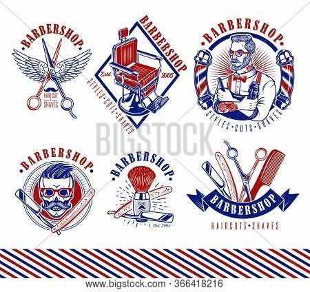Set Of Vintage Barbershop Emblems, Labels And Logos.the Barber With Hair Clipper And Hairbrush. Vint