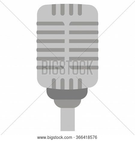 Isolated Retro Microphone Over A White Background - Vector
