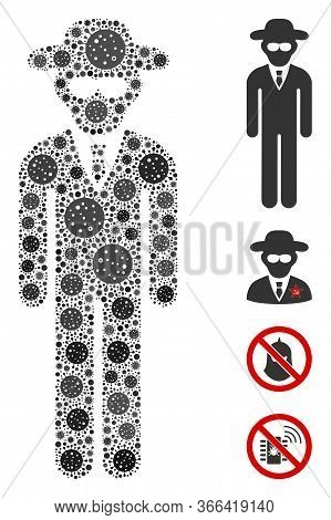 Collage Security Agent United From Sars Virus Elements In Different Sizes And Color Hues. Vector Pat