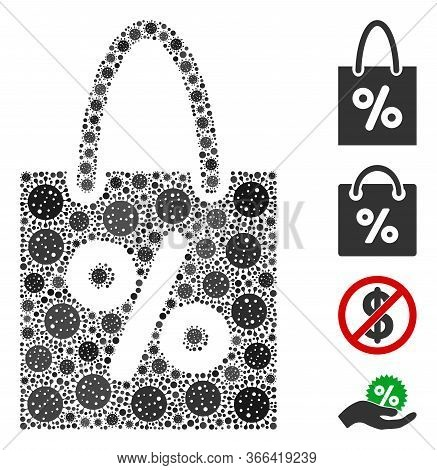 Mosaic Shopping Discount Constructed From Sars Virus Icons In Random Sizes And Color Hues. Vector Pa
