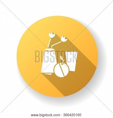Cubism Orange Flat Design Long Shadow Glyph Icon. Vase And Fruit Abstract Composition. 20th Century