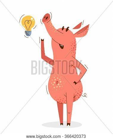 Funny Cartoon Pig Thinking On Some Idea Shown With Light Bulb Vector Illustration, Happy Smart Anima