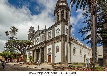 San Cristobal De La Laguna, Spain - June 16, 2015: Cathedral Of San Cristobal De La Laguna. Old Drag