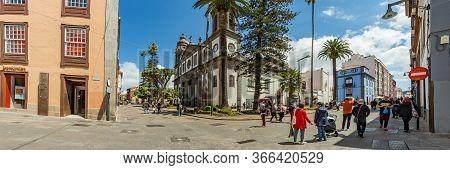 San Cristobal De La Laguna, Spain - April 7, 2019: Cathedral Of San Cristobal De La Laguna. Tourists