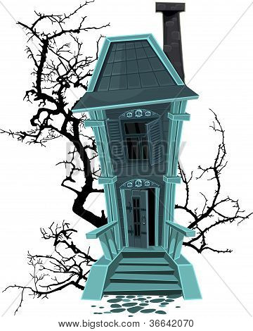 Haunted Halloween Witch House Isolated On White Background