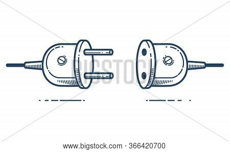 Retro Electric Plug In Unplugged Vector Linear Icon, Power Electricity Or Technology Concept, Connec