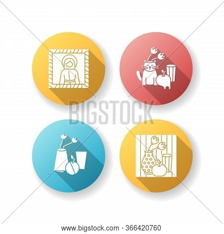 Art Movements Flat Design Long Shadow Glyph Icons Set. Surrealism And Cubism Styles. Medieval Portra