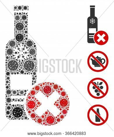 Mosaic Stop Vodka Drinking Constructed From Covid-2019 Virus Icons In Different Sizes And Color Hues