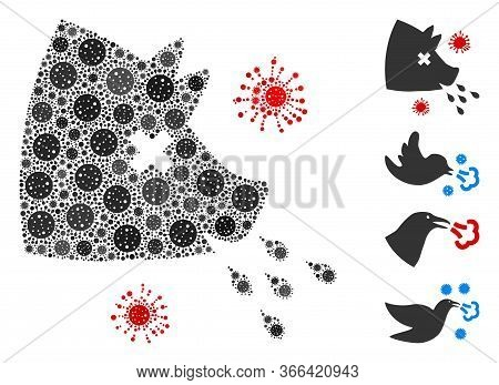 Collage Swine Flu Composed Of Flu Virus Elements In Various Sizes And Color Hues. Vector Infection E