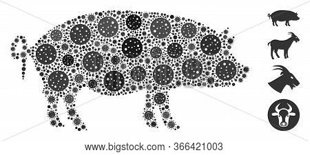 Mosaic Swine Constructed From Coronavirus Icons In Different Sizes And Color Hues. Vector Infection