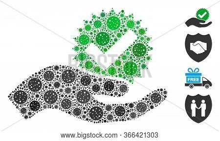 Mosaic True Bonus Composed Of Coronavirus Icons In Different Sizes And Color Hues. Vector Pathogen I