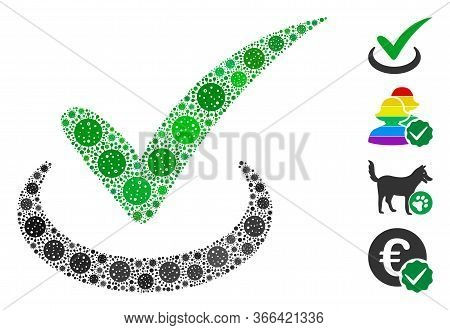 Mosaic True Constructed From Covid-2019 Virus Icons In Different Sizes And Color Hues. Vector Viral