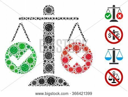 Mosaic Truth Decision Organized From Flu Virus Icons In Various Sizes And Color Hues. Vector Pathoge