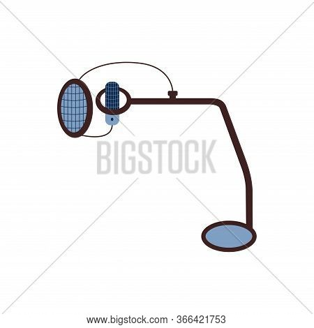 Microphone With Filter And Stand. Media Hosting. Sound Recording Equipment. Dj On The Radio, Podcast
