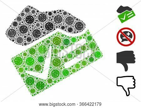 Mosaic Vote Yes United From Flu Virus Items In Random Sizes And Color Hues. Vector Pathogen Items Ar