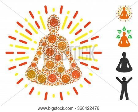 Collage Yoga Meditation Designed From Sars Virus Items In Various Sizes And Color Hues. Vector Patho
