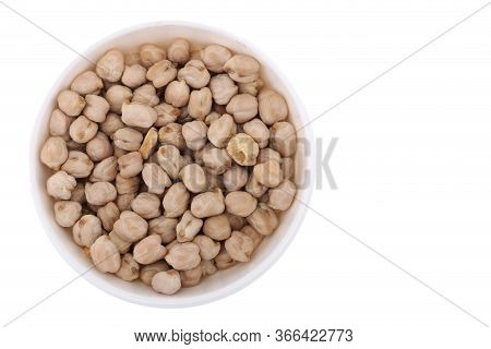 Chickpea Uncooked Chickpea Isolated On White Background, Top View.