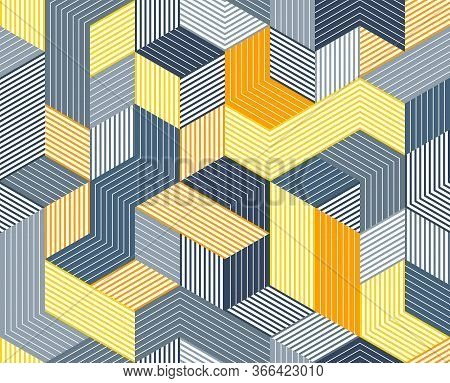 3d Cubes Seamless Pattern Vector Background, Lined Dimensional Blocks, Architecture And Construction