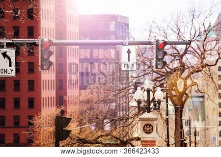 Traffic Light And Street Signs In Albany Downtown Near Washington Avenue, Ny, Usa