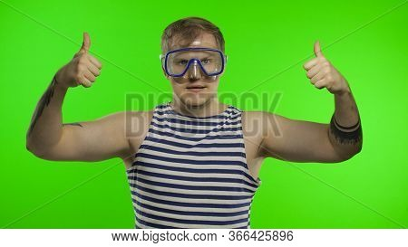 Emotional Handsome Guy Tourist In Underwater Swimming Goggles Mask Wear Striped Sailor Shirt Vest. C