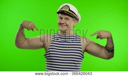 Young Muscular Sailor Man Pointing Oneself With Fingers Proud, Happy. Seaman Guy Smiling In Sailors