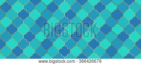 Eid Mubarak Islam Background. Ramadan Kareem Islamic Illustration. Seamless Moroccan Mosaic Design.