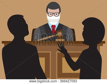 A Judge With A Face Mask Is Listening To Two Lawyers Argue Their Cases