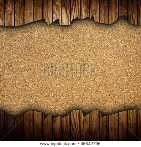 chipboard with cracked wood frame