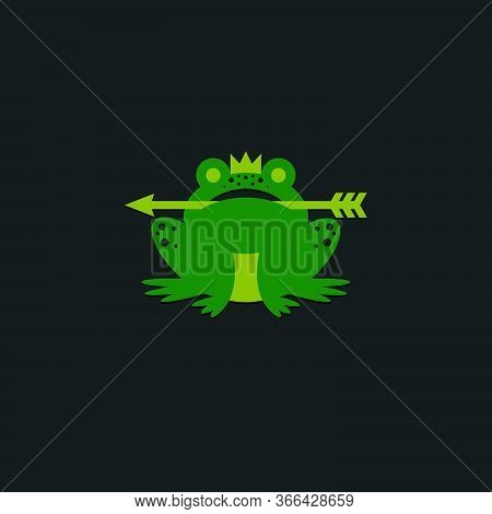 Princess Frog Logo. Green Frog With A Crown And An Arrow On A Dark Background. Fairy Tale Character