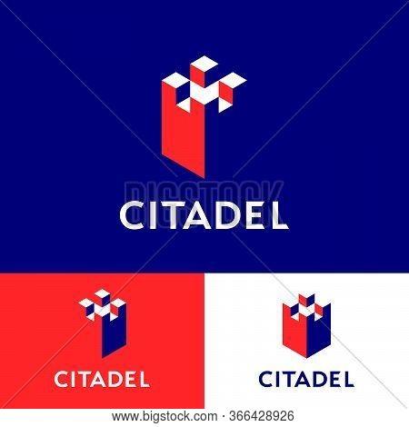 Citadel Logo. Insurance Agency Emblem. Citadel Walls, Castle Contrast Elements.  Reliable Protection
