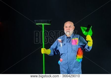 Cleaning. Man With Cleaning Tools. Bearded Man In Uniform With Broom And Scoop. Household. Housekeep