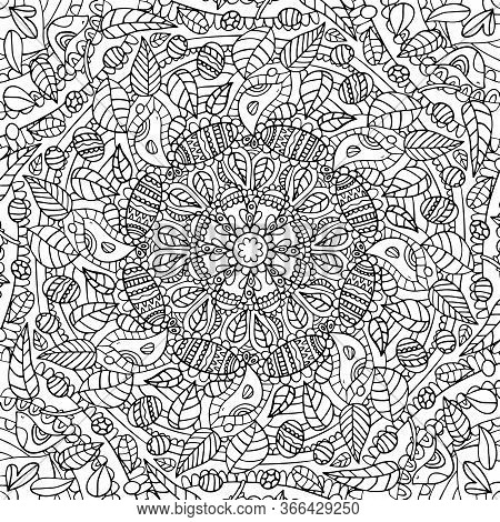 Square Black And White Hand Drawn Outline Vector Mandala Colouring Page For Children, Adults. Zentan