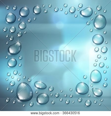 Water Rain Drops Or Condensation Over Blurred Background Frame With Copy Space Realistic Transparent