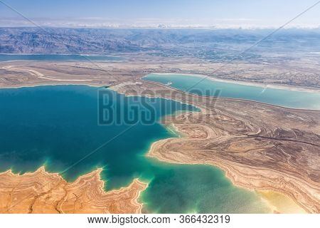 Dead Sea Israel Landscape Nature From Above Aerial View Jordan