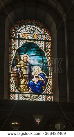 Bethlehem, Palestine, January 28, 2020: Colorful Stained Glass Window In Carmelite Convent On The Hi