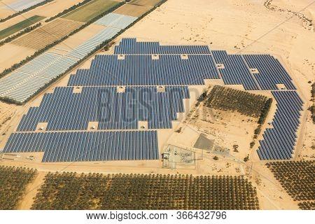 Solar Panels Farm Energy Panel Israel Desert From Above Aerial View