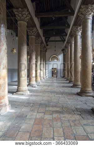Bethlehem, Palestine - January 28, 2020: The Corridor Of Atrium At Basilica Of The Nativity In Bethl